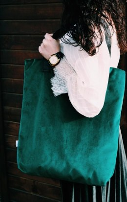 Bag Mr. m velvet bottle green/ears natural leather