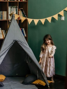 Teepee tent Grey with grey pompom