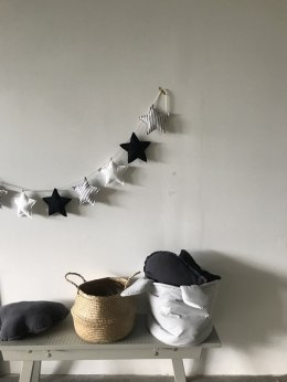 Garland with stars Black/white/grey
