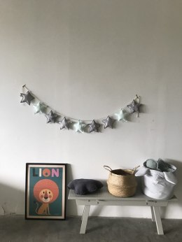 Garland with Mint stars/grey/White