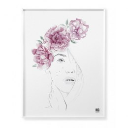 Poster Woman Peonies